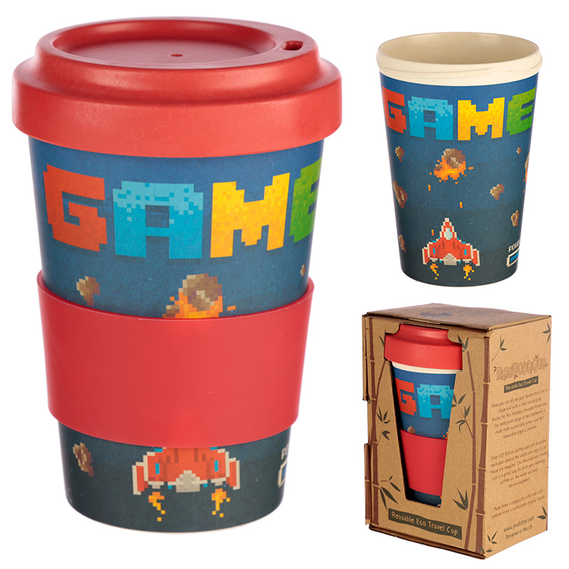 Game Over Design Bambootique Eco Friendly Travel Cup/Mug