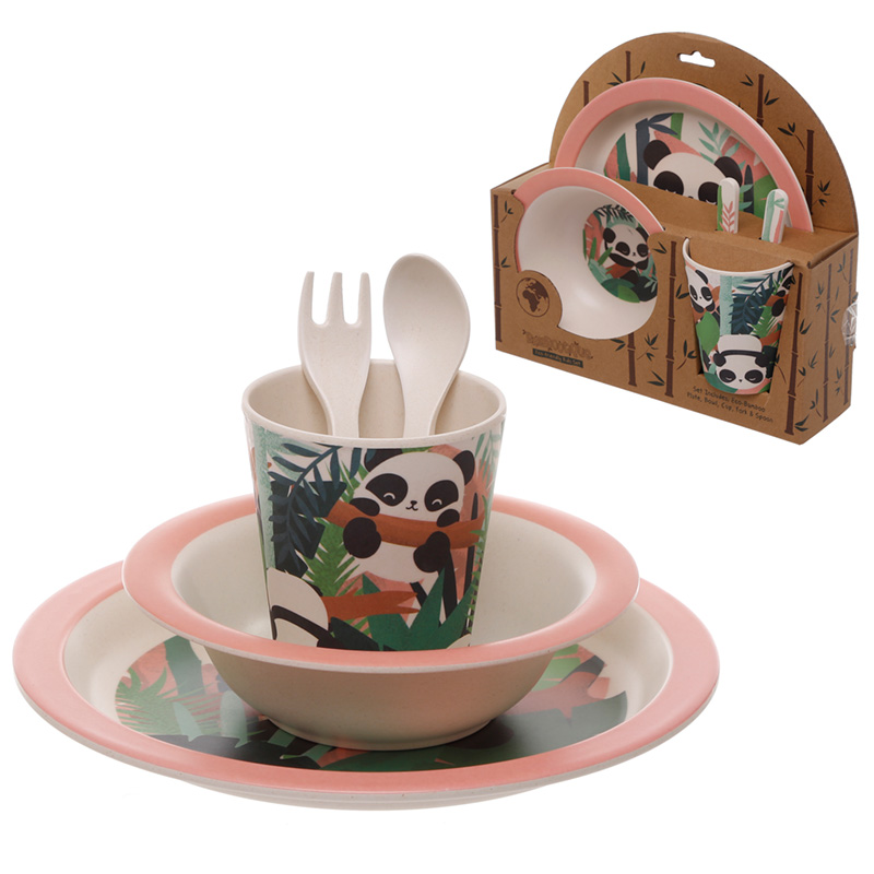 Pandarama Design Bamboo Eco Friendly Kids Dinner Set