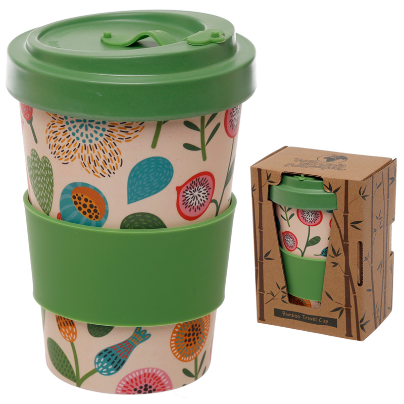 Autumn Floral Design Bamboo Eco Friendly Screw Top Travel Mug