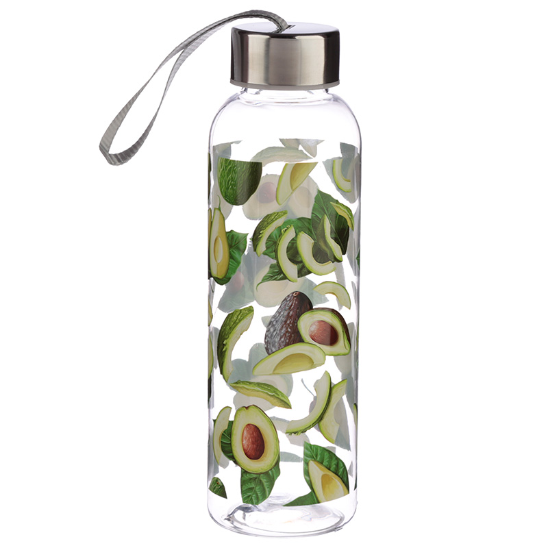 Avocado Design 500ml Bottle with Metallic Lid