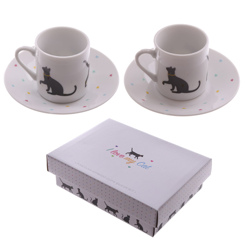 I Love My Cat Design Set of 2 Espresso Cup and Saucer