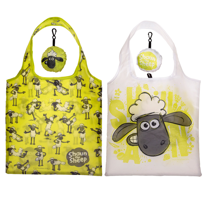 Shaun the Sheep Handy Fold Up Shopping Bag with Holder