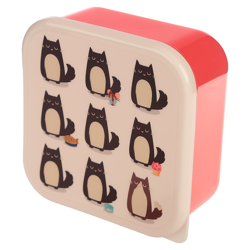 Feline Fine Cat Design Set of 3 Plastic Lunch Boxes
