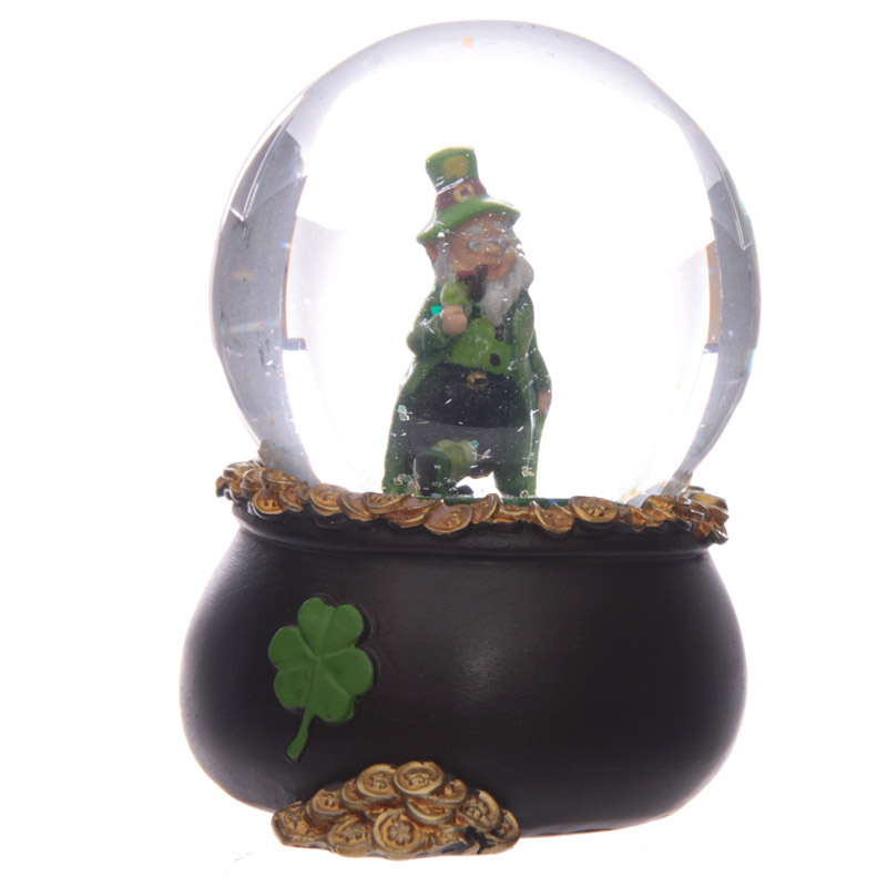 Lucky Leprechaun Pot of Gold Snow Globe