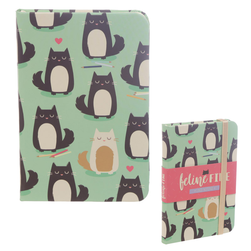 Feline Fine Cat Design A6 Collectable Hardback Notebook
