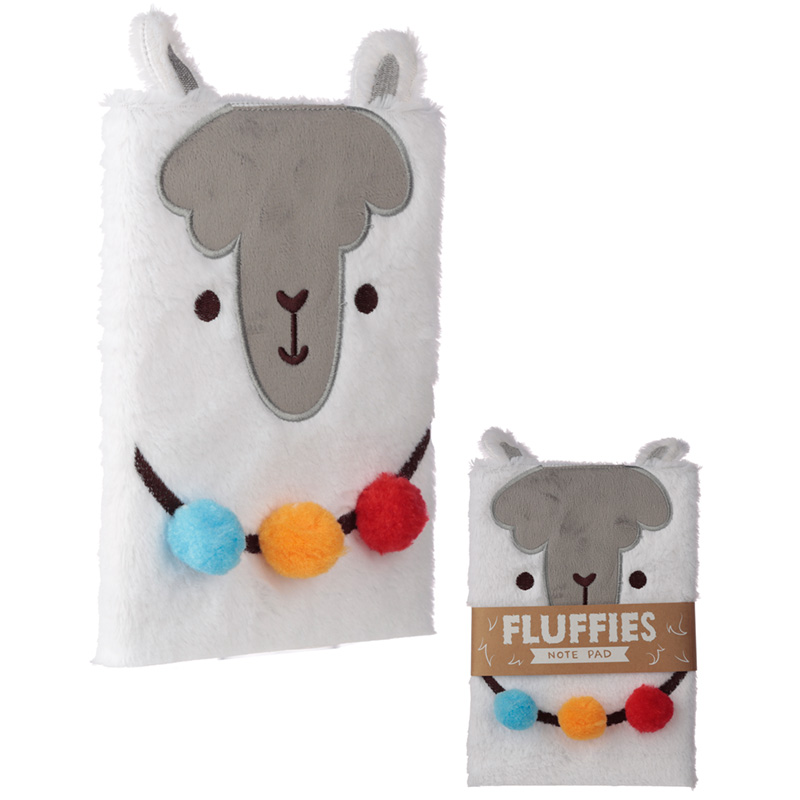 Llama Design Fluffy Plush Notebook