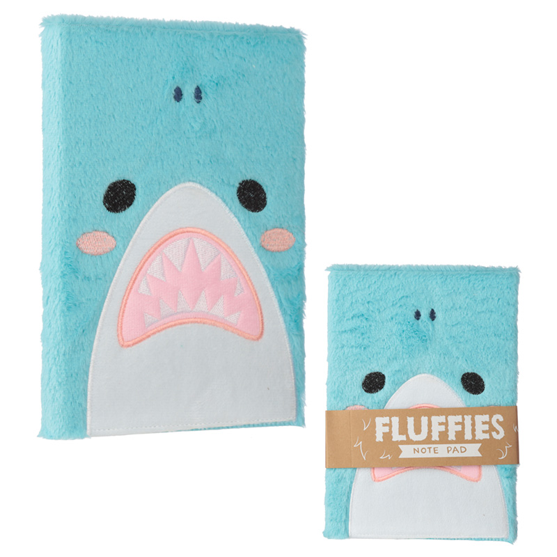 Shark Design Fluffy Plush Notebook