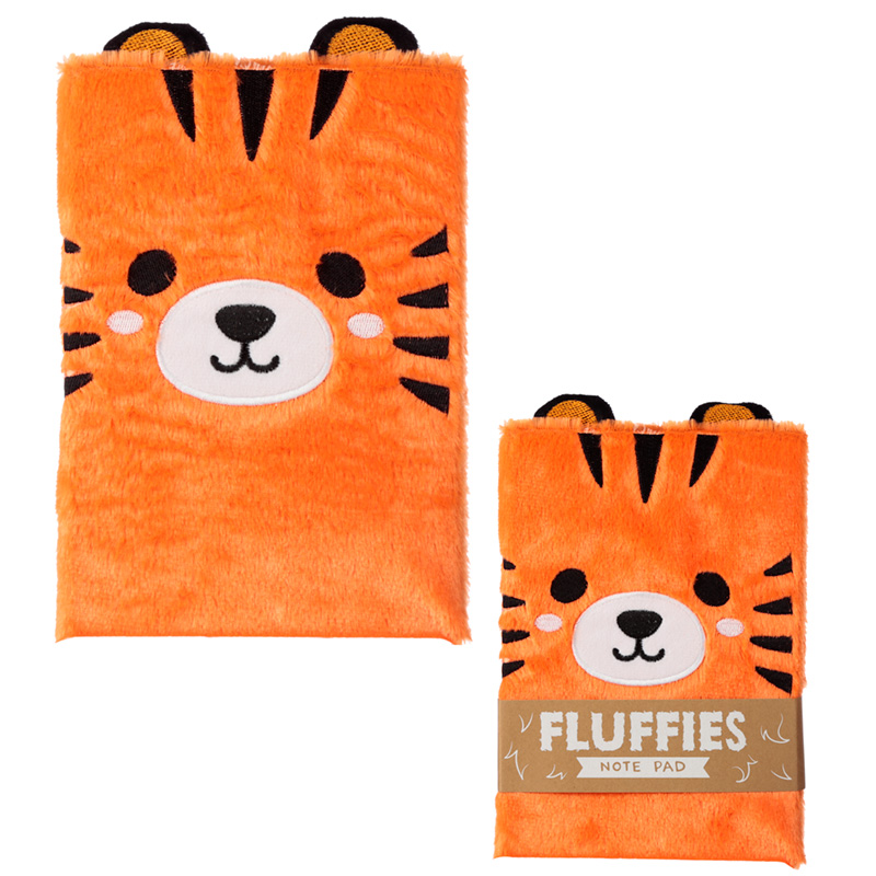 Tiger Design Fluffy Plush Notebook