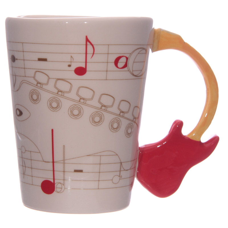 Guitar Shaped Handle Ceramic Mug