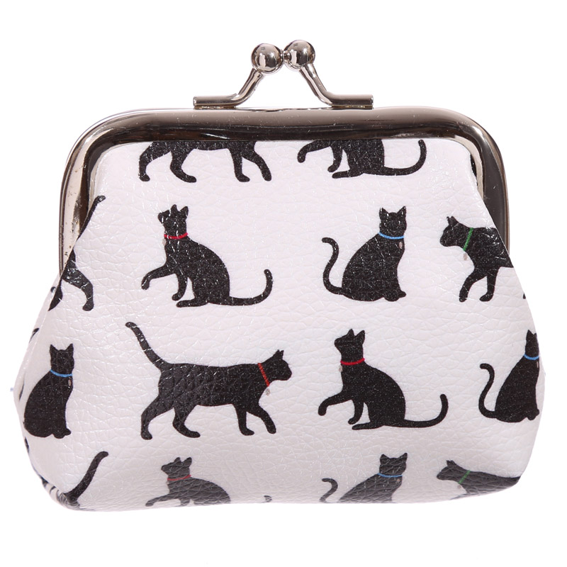 Fun Tic Tac Floral Cat Silhouette Purse