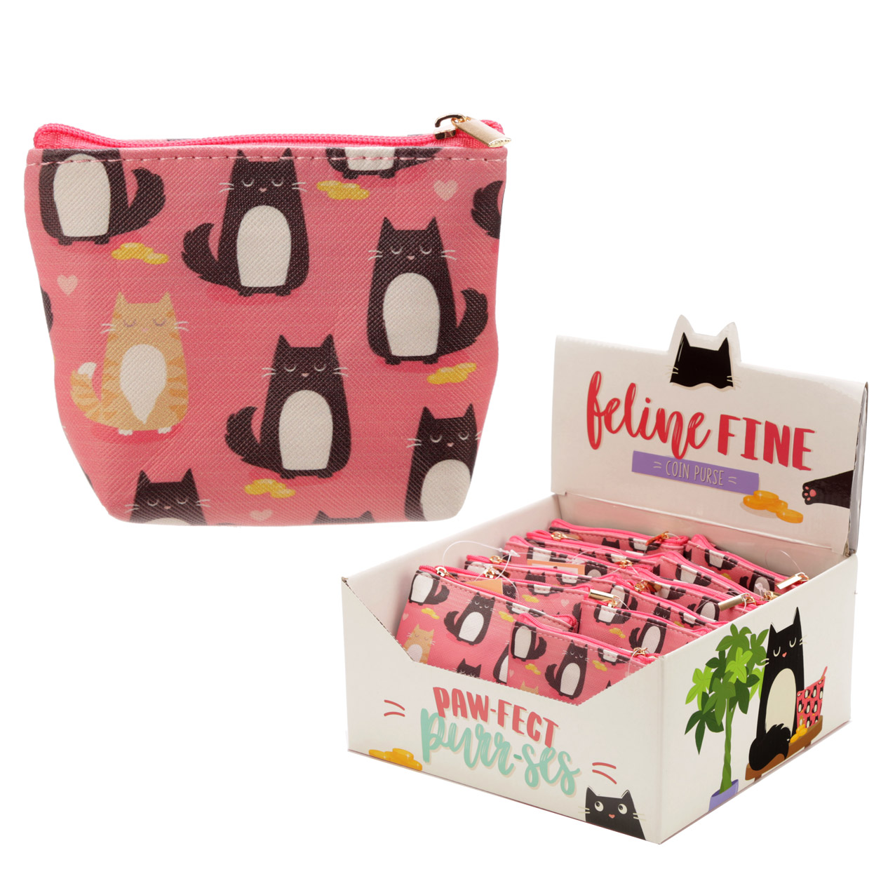 Handy PVC Make Up Bag Purse - Feline Fine Cat Design