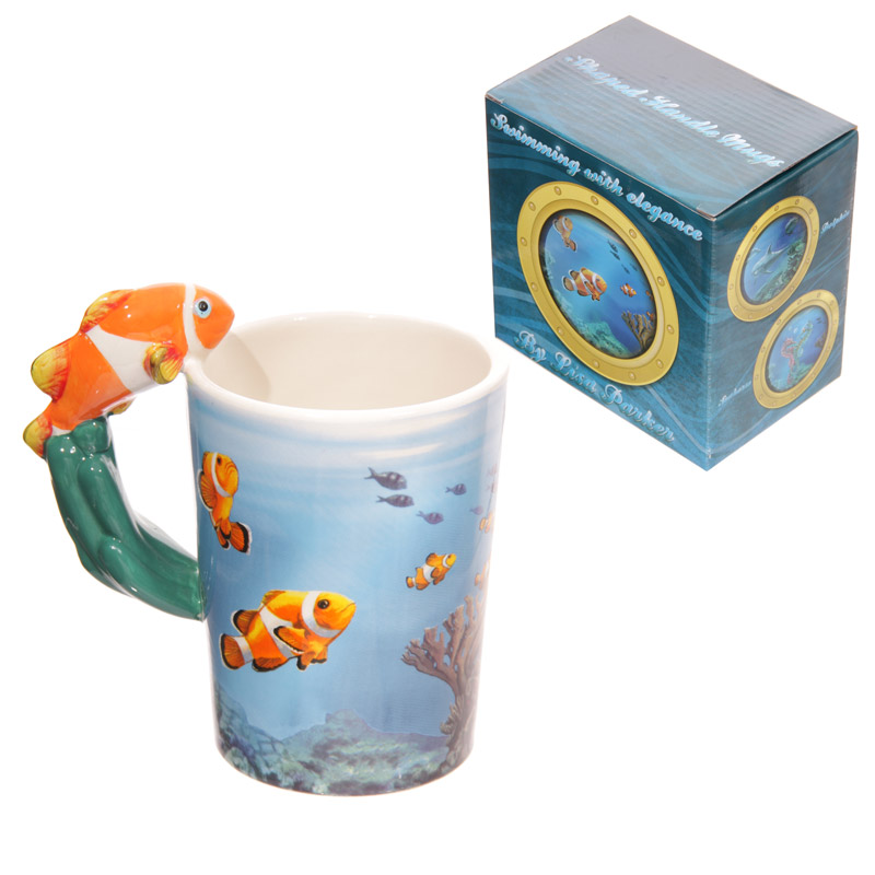 Sealife Design Clown Fish Shaped Handle Ceramic Mug