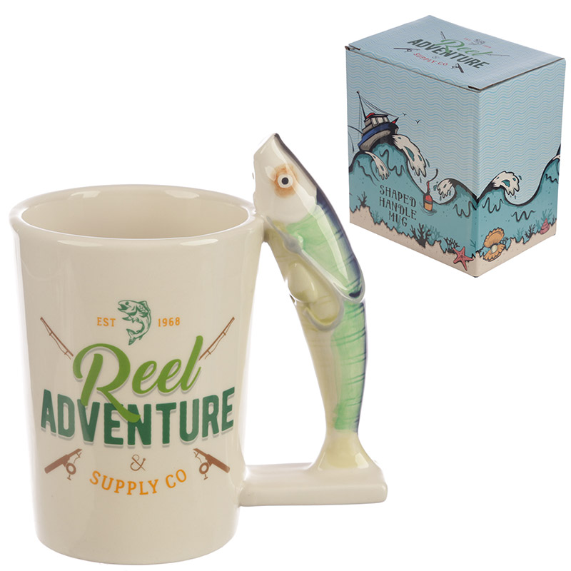 Fishing Reel Adventure Shaped Handle Ceramic Mug