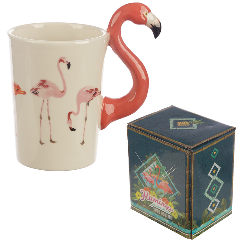 Flamingo Shaped Handle Ceramic Mug