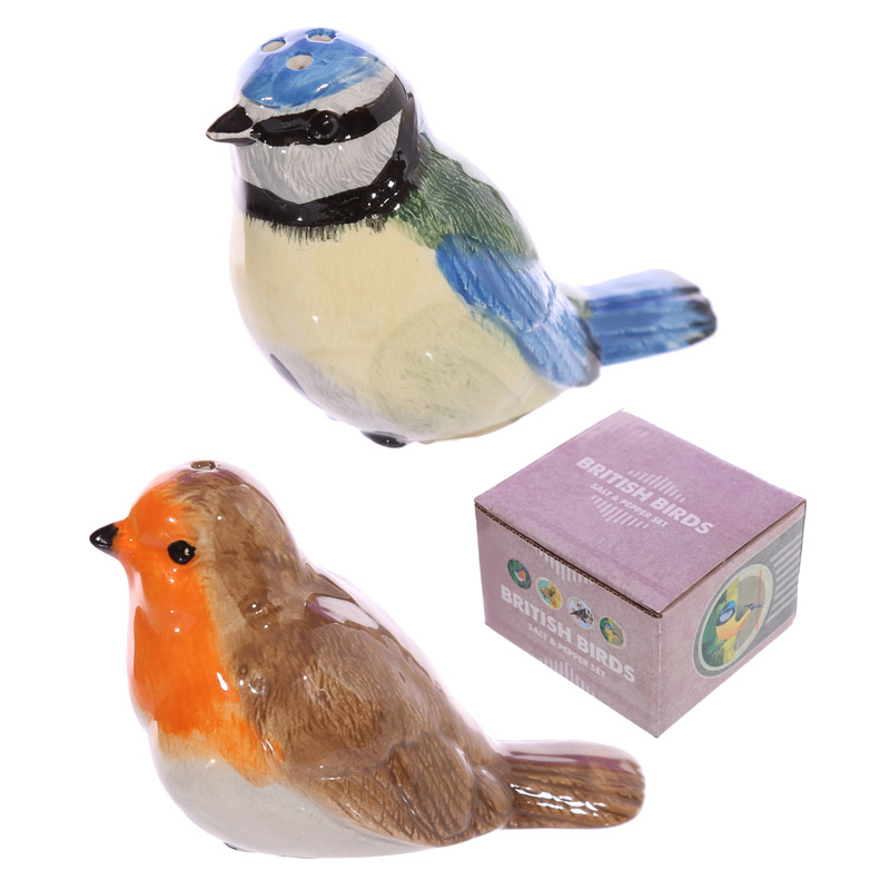 British Birds Blue Tit and Robin Salt and Pepper Set