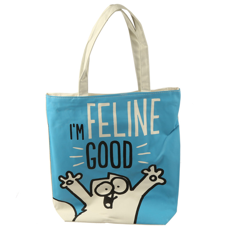 Handy Cotton Zip Up Shopping Bag - Simon's Cat I'm Feline Fine