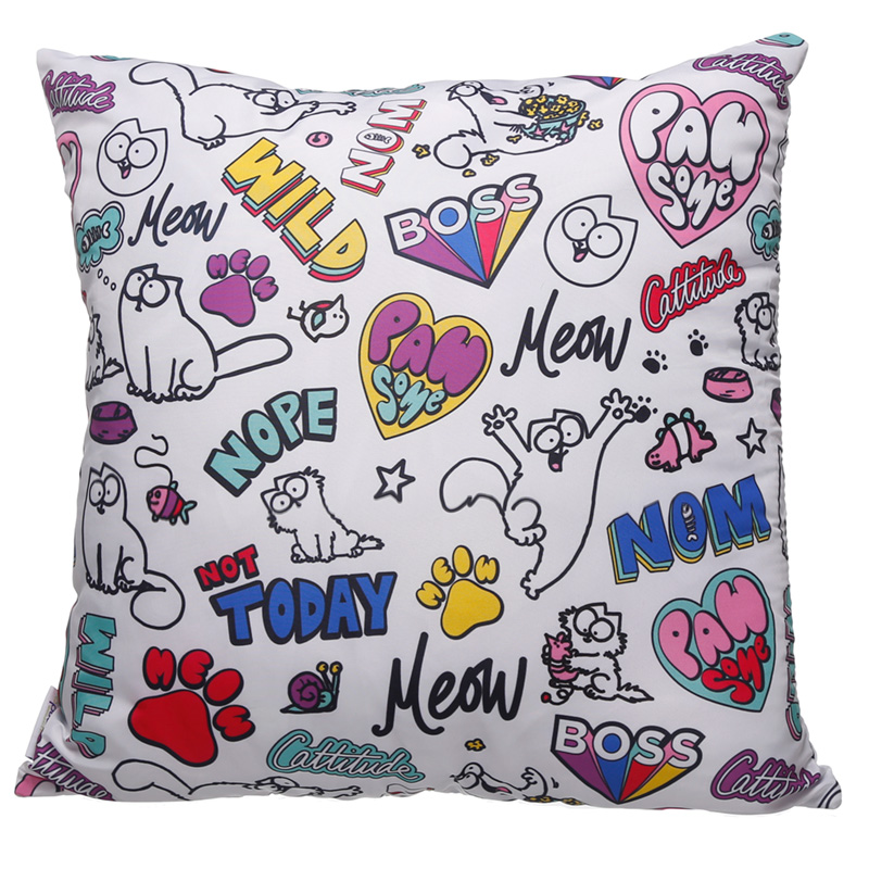 White Simon's Cat Pawsome Cushion with Insert 50 x 50cm