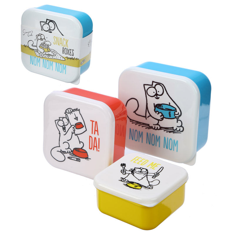 Fun Simon's Cat Design Set of 3 Plastic Lunch Boxes